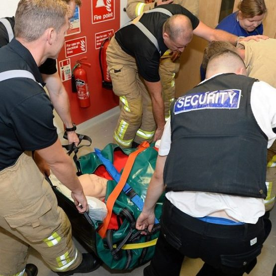 Barry in use during evacuation training