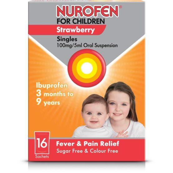 Ibuprofen 100mg/5ml Suspension - Sachets (8 Pack)
