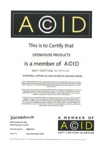 Openhouse Products Acid 2019 Certificate